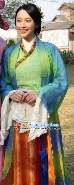 Chinese Ancient Ming Dynasty Wife of Tang Bohu Qiuxiang Dress Costume for Women