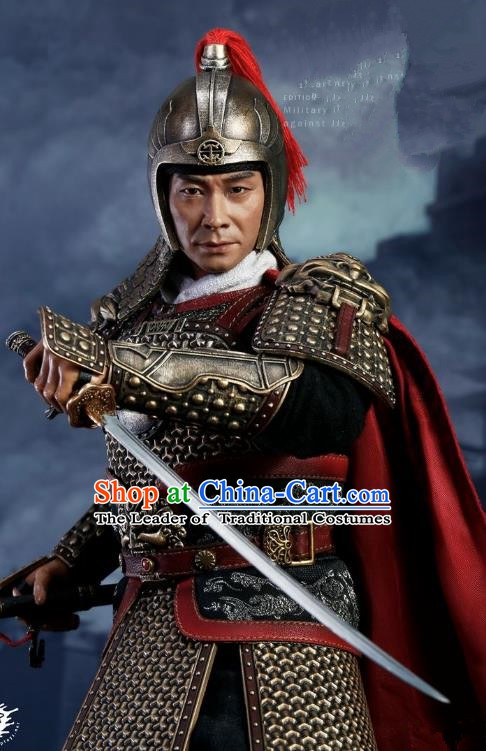 Traditional Chinese Ancient Ming Dynasty Invasions General Qi Jiguang Costume Helmet and Armour for Men