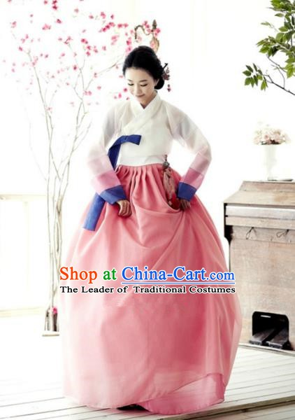 Top Grade Korean Hanbok Traditional Bride White Blouse and Pink Dress Fashion Apparel Costumes for Women