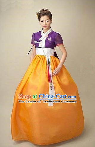 Top Grade Korean Hanbok Traditional Bride Purple Blouse and Orange Dress Fashion Apparel Costumes for Women