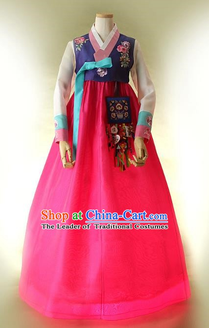 Top Grade Korean Hanbok Traditional Bride Purple Blouse and Rosy Dress Fashion Apparel Costumes for Women