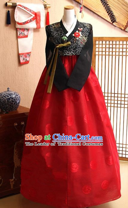 Top Grade Korean Hanbok Traditional Bride Black Blouse and Red Dress Fashion Apparel Costumes for Women