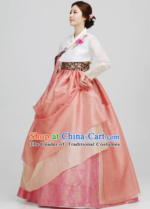 Top Grade Korean Hanbok Traditional Bride Blouse and Pink Dress Fashion Apparel Costumes for Women