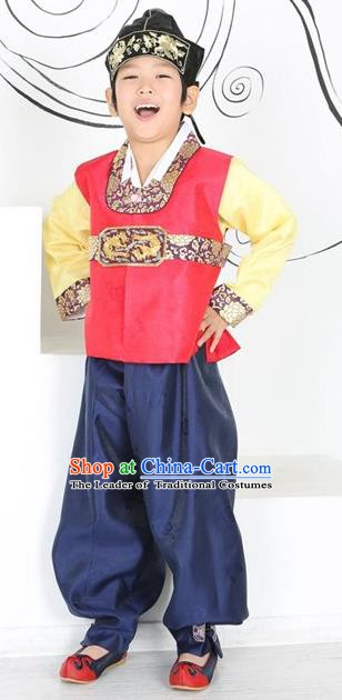 Asian Korean Hanbok Ancient Palace Boys Red Shirt and Navy Pants Traditional Costume for Kids