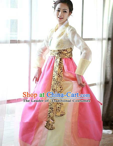 Top Grade Korean Hanbok Traditional White Blouse and Pink Dress Fashion Apparel Costumes for Women