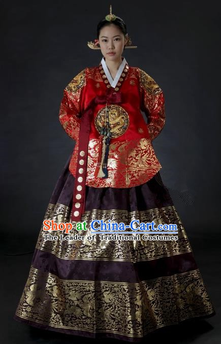 Top Grade Korean Palace Hanbok Traditional Red Blouse and Purple Dress Fashion Apparel Costumes for Women