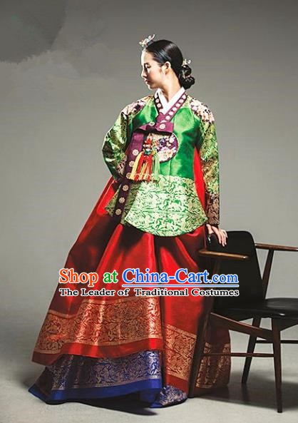Top Grade Korean Palace Hanbok Traditional Empress Green Blouse and Red Dress Fashion Apparel Costumes for Women