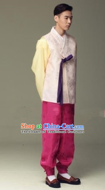 Asian Korean Hanbok Ancient Bridegroom Traditional Costume Pink Vest and Rosy Pants for Men