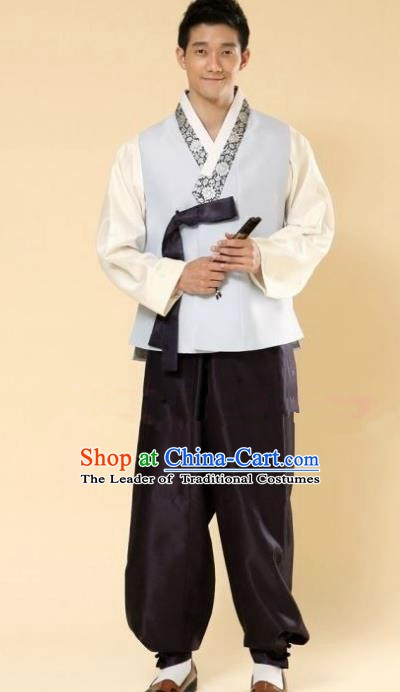 Asian Korean Hanbok Ancient Bridegroom Traditional Costume Blue Vest and Black Pants for Men