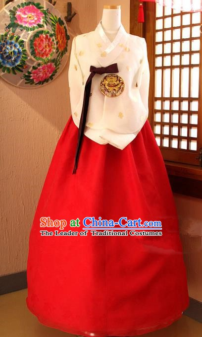 Top Grade Korean Palace Hanbok Traditional Empress Beige Blouse and Red Dress Fashion Apparel Costumes for Women