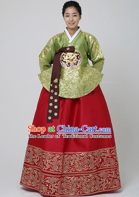 Top Grade Korean Traditional Palace Hanbok Ancient Empress Green Blouse and Red Dress Fashion Apparel Costumes for Women