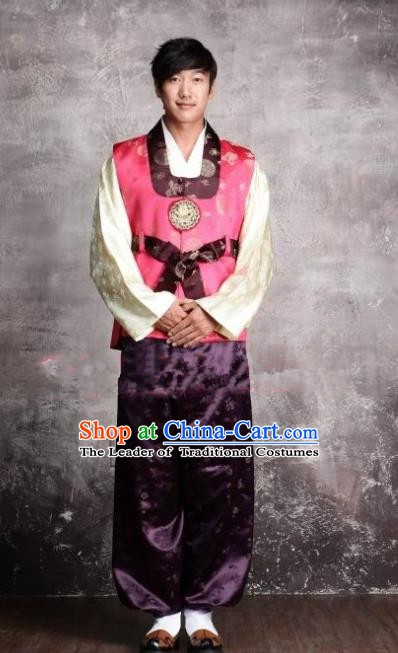 Asian Korean Hanbok Ancient Bridegroom Traditional Costume Pink Vest and Purple Pants for Men