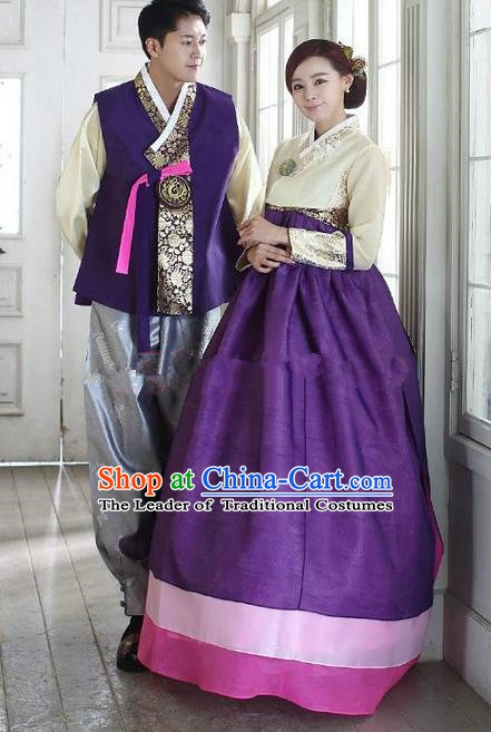 Asian Korean Traditional Purple Costume Ancient Bridegroom and Bride Hanbok Complete Set