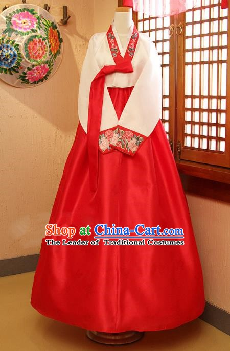 Top Grade Korean Traditional Palace Hanbok Ancient White Blouse and Red Dress Fashion Apparel Costumes for Women