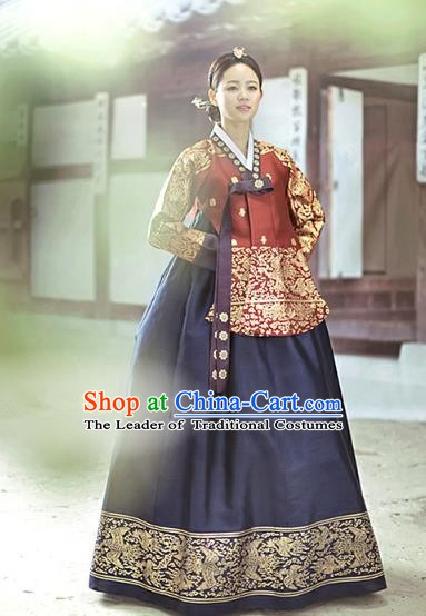 Top Grade Korean Traditional Palace Hanbok Ancient Wine Red Blouse and Navy Dress Fashion Apparel Costumes for Women
