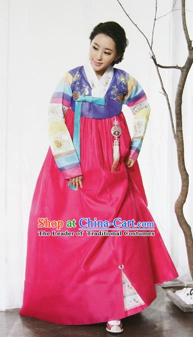 Top Grade Korean Traditional Palace Hanbok Ancient Lilac Blouse and Pink Dress Fashion Apparel Costumes for Women
