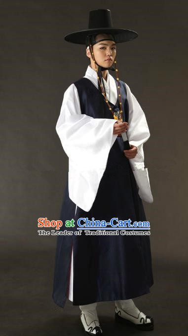 Asian Korean Traditional Costume Ancient Nobility Childe Bridegroom Navy Hanbok for Men