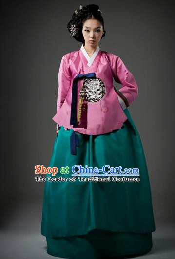 Top Grade Korean Traditional Palace Hanbok Ancient Pink Blouse and Green Dress Fashion Apparel Costumes for Women