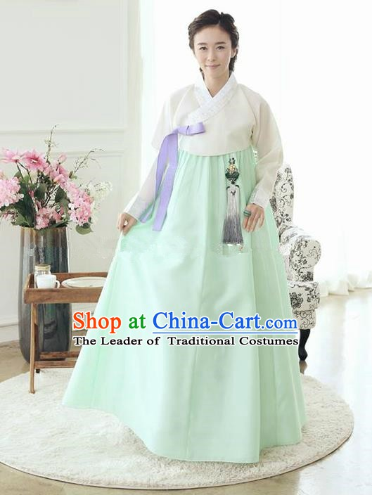Top Grade Korean Traditional Hanbok Ancient Palace White Blouse and Green Dress Fashion Apparel Costumes for Women