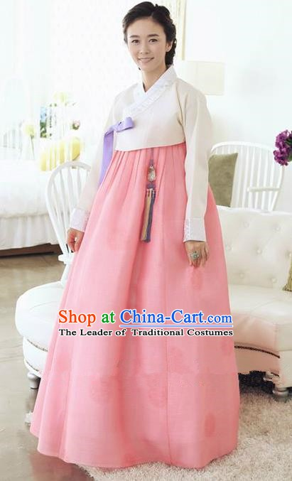 Top Grade Korean Traditional Hanbok Ancient Fashion Apparel Costumes Palace White Blouse and Pink Dress for Women