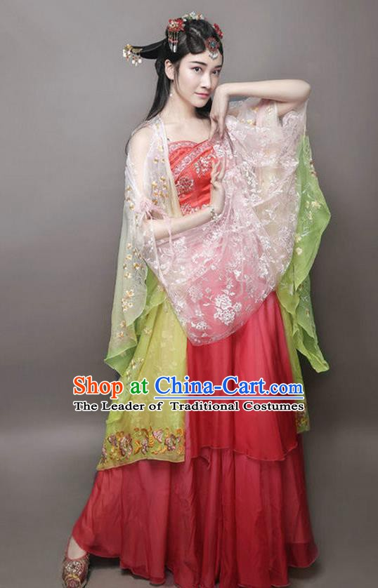 Chinese Ancient Palace Dance Costume Tang Dynasty Princess Embroidered Mullet Dress for Women