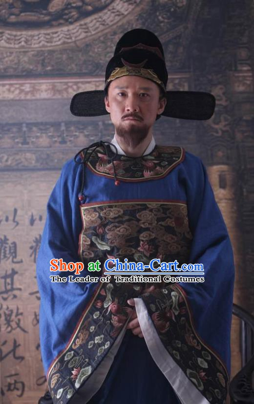Traditional Chinese Ancient Ming Dynasty Crown Prince Teacher Upright Official Hai Rui Costume for Men