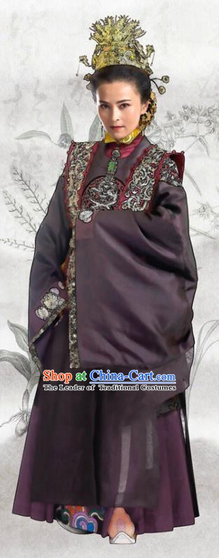 Chinese Ancient Ming Dynasty Palace Concubine Dowager Embroidered Dress Costume for Women