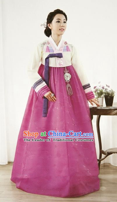 Top Grade Korean Hanbok Ancient Traditional Fashion Apparel Costumes Beige Blouse and Rosy Dress for Women