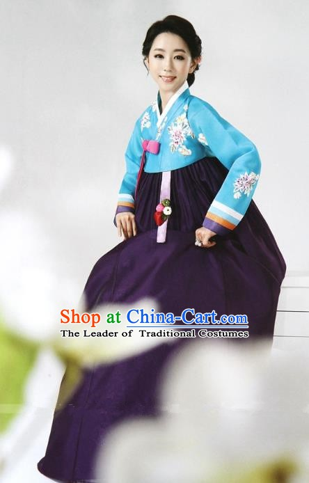 Top Grade Korean Hanbok Ancient Traditional Fashion Apparel Costumes Blue Blouse and Purple Dress for Women