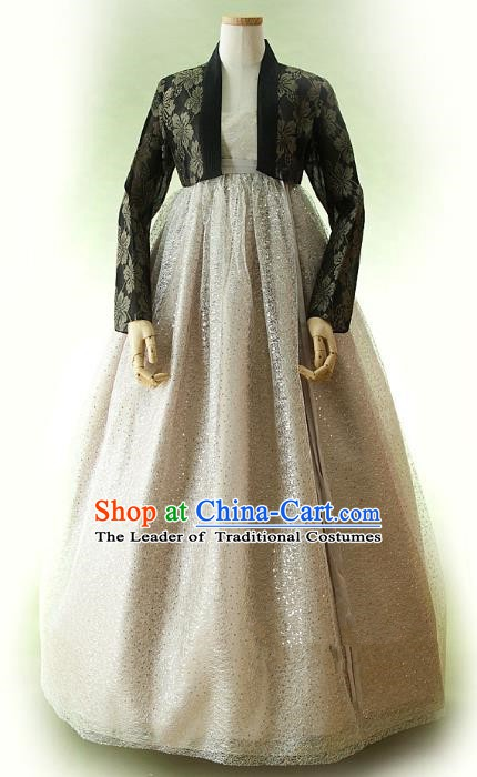 Top Grade Korean Traditional Hanbok Ancient Fashion Apparel Costumes Black Blouse and Grey Dress for Women