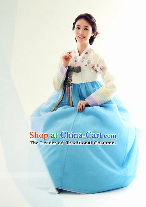 Top Grade Korean Hanbok Ancient Traditional Fashion Apparel Costumes Beige Blouse and Blue Dress for Women