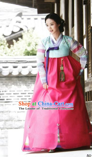 Top Grade Korean Hanbok Ancient Traditional Fashion Apparel Costumes Blue Blouse and Rosy Dress for Women