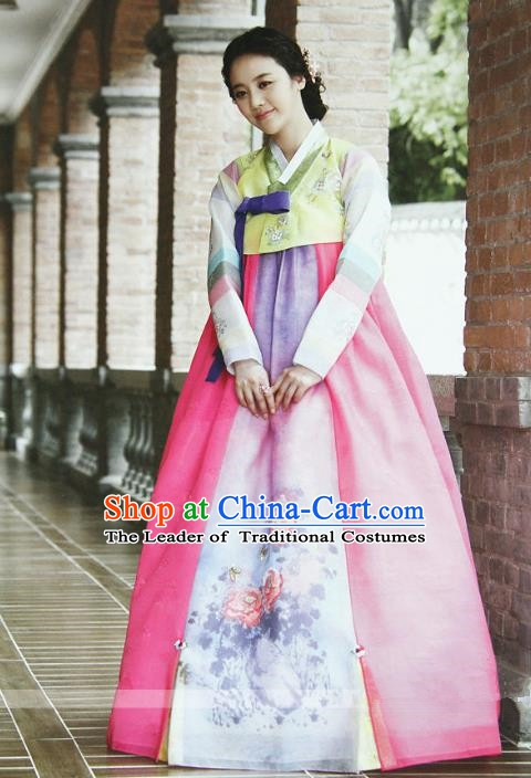 Top Grade Korean Hanbok Ancient Traditional Fashion Apparel Costumes Yellow Blouse and Pink Dress for Women