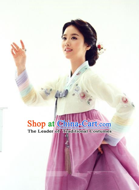 Top Grade Korean Hanbok Ancient Traditional Fashion Apparel Costumes Beige Blouse and Lilac Dress for Women