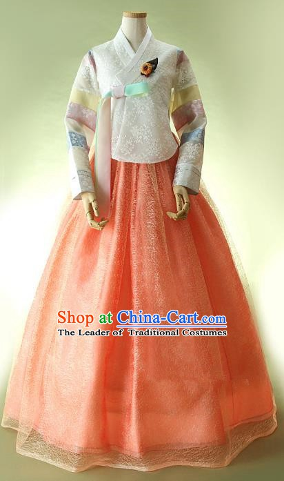 Top Grade Korean Hanbok Ancient Traditional Fashion Apparel Costumes White Lace Blouse and Orange Dress for Women