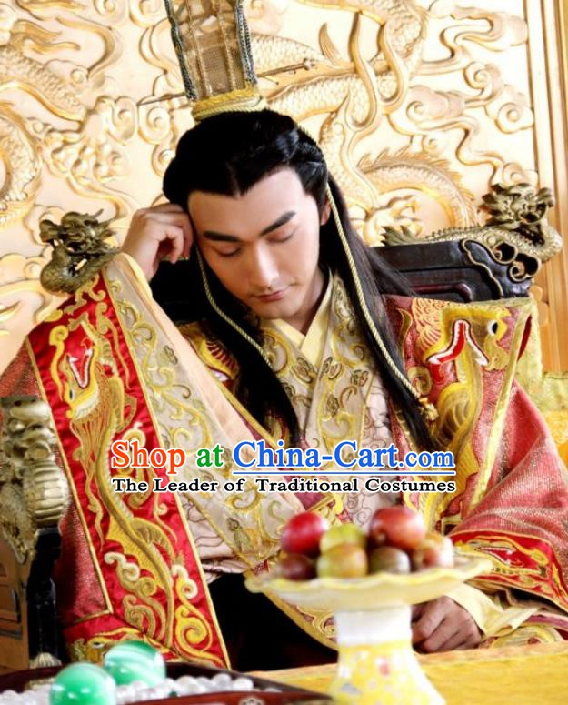 Chinese Ancient Ming Dynasty Majesty Emperor Zhu Youxiao Embroidered Costume for Men