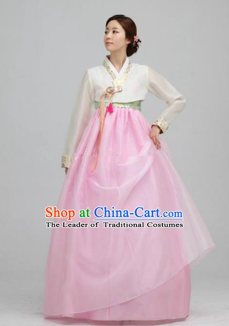 Top Grade Korean Traditional Hanbok Ancient Fashion Apparel Costumes White Blouse and Pink Dress for Women
