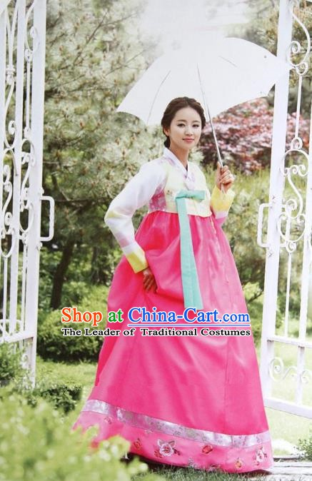 Top Grade Korean Hanbok Yellow Blouse and Pink Dress Ancient Traditional Fashion Apparel Costumes for Women