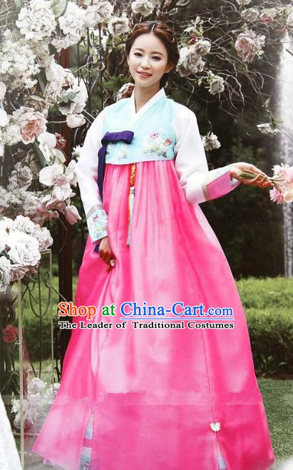 Top Grade Korean Hanbok Blue Blouse and Pink Dress Ancient Traditional Fashion Apparel Costumes for Women