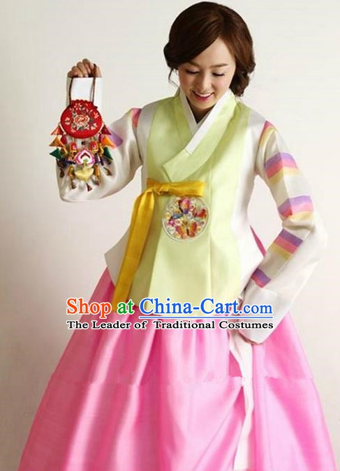 Korean Traditional Hanbok Yellow Blouse and Pink Dress Ancient Formal Occasions Fashion Apparel Costumes for Women
