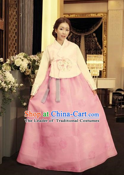 Korean Traditional Hanbok Blouse and Pink Dress Ancient Formal Occasions Fashion Apparel Costumes for Women