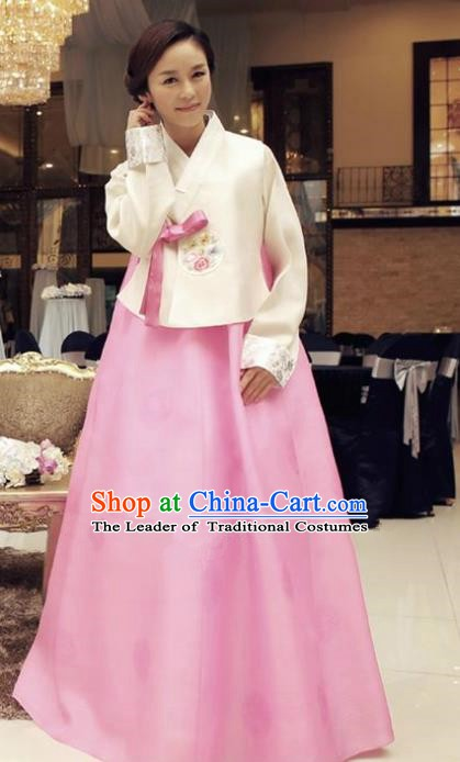 Korean Traditional Hanbok White Blouse and Pink Dress Ancient Formal Occasions Fashion Apparel Costumes for Women