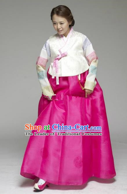 Korean Traditional Hanbok White Blouse and Rosy Dress Ancient Formal Occasions Fashion Apparel Costumes for Women