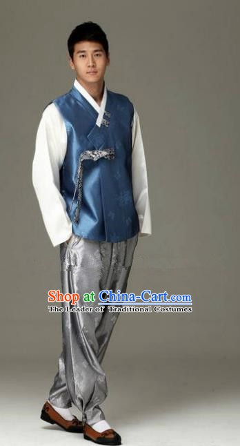 Traditional Korean Costumes Ancient Korean Male Hanbok Bridegroom Costume Blue Vest and Grey Pants for Men