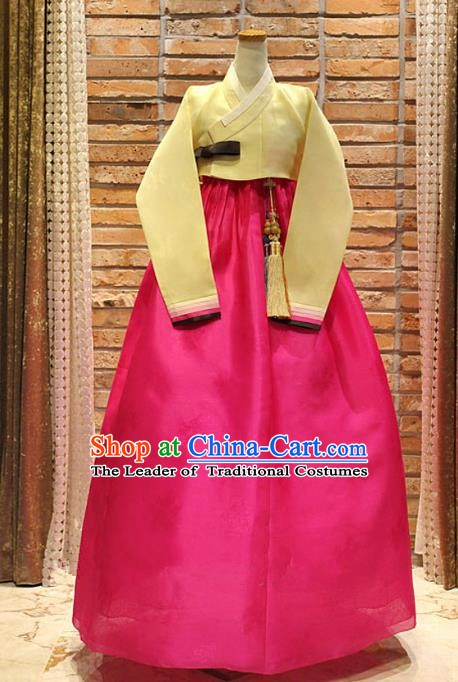 Korean Traditional Hanbok Bride Yellow Blouse and Rosy Dress Ancient Formal Occasions Fashion Apparel Costumes for Women