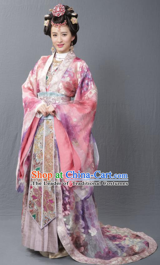 Ancient Chinese Ming Dynasty Imperial Empress Wu Embroidered Mullet Dress Costume for Women