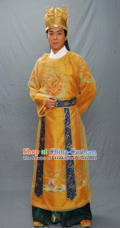 Chinese Ancient Ming Dynasty Emperor Zhengde Embroidered Imperial Robe Majesty Zhu Houzhao Costume for Men