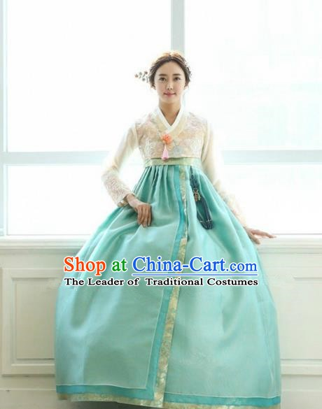 Korean Traditional Hanbok Bride White Lace Blouse and Green Dress Ancient Formal Occasions Fashion Apparel Costumes for Women
