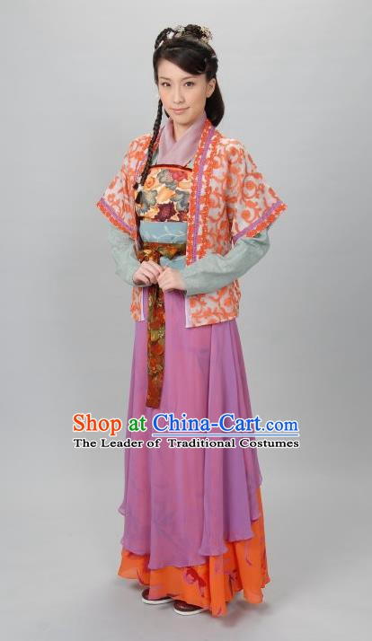 Ancient Chinese Ming Dynasty Maidservant QiuXiang Dress Costume for Women