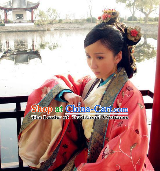 Chinese Ancient Song Dynasty Imperial Concubine Pang of Zhao Zhen Tailing Embroidered Dress Replica Costume for Women